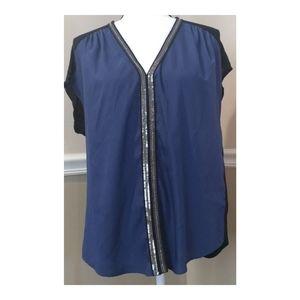 Rock & Republic Blue Black Sequin Sheer Top M